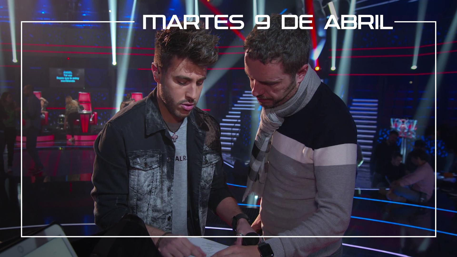 Martes 9 de abril Ángel Cortés y Antonio José ensayan en plató el tema 'A dónde vas'
