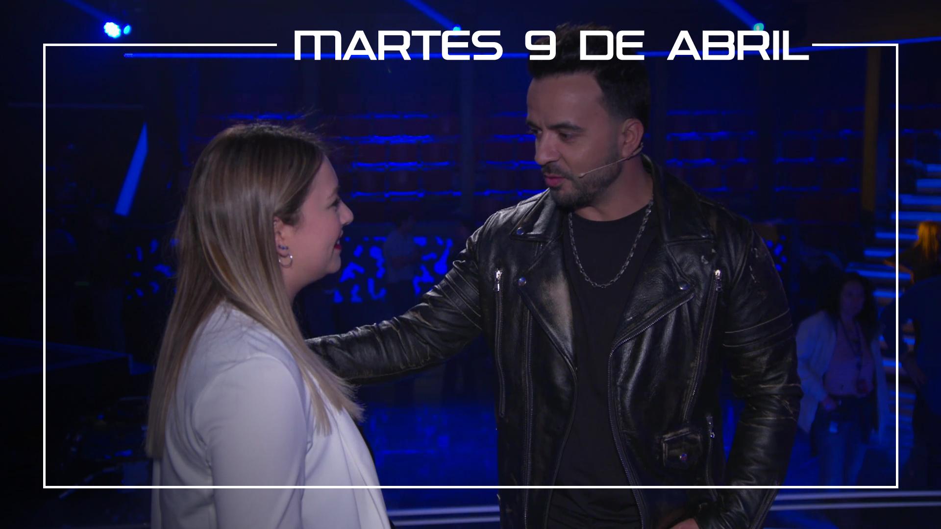 Martes 9 de abril María Espinosa ensaya con Luis Fonsi 'Amiga mía' en el plató