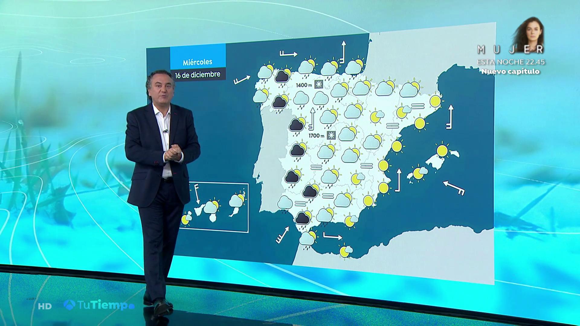 Diciembre 2020 (15-12-20) Lluvias dispersas en la Península que remitirán al final del día excepto en Galicia donde serán persistentes
