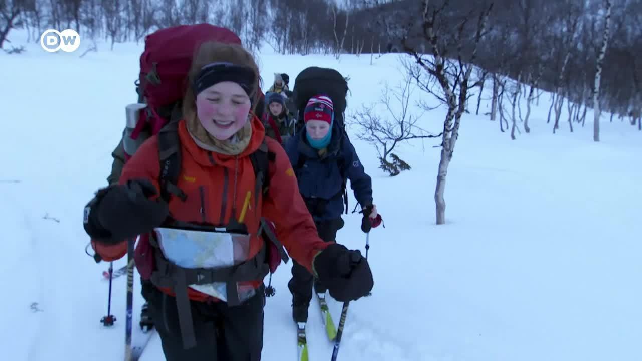 La aurora boreal - Gente en invierno