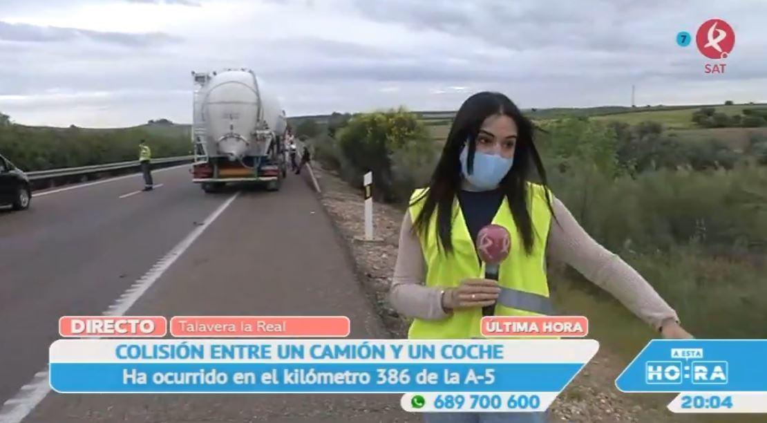 Un camión arrolla a un turismo en la A5