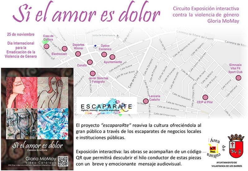 Gloria Morán Mayo expone en comercios de Villafranca un alegato contra la violencia hacia las mujeres