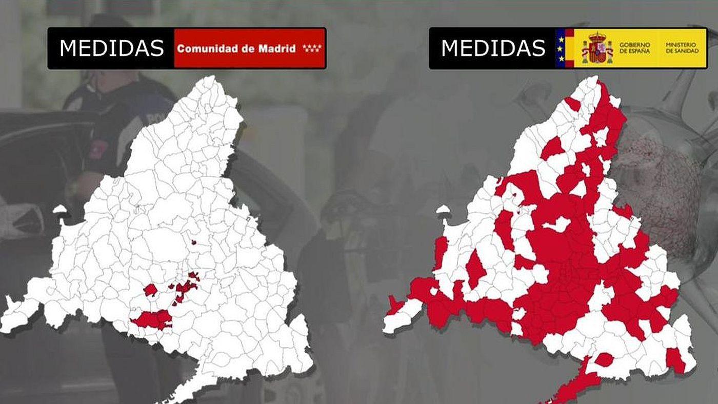 Diario El mapa de la discrepancia: Madrid vs Gobierno Central - Diario 25/09/2020