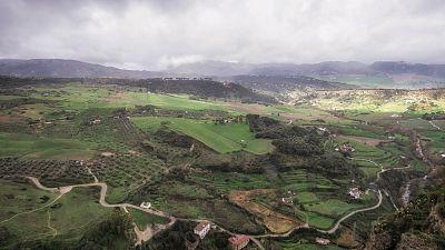 Lluvia mañana en Andalucía occidental, Málaga, sistema Central y Canarias