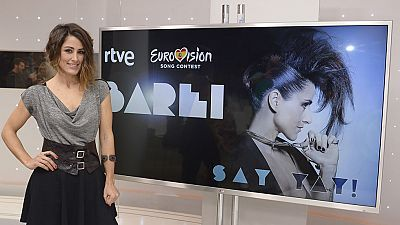2016 - Rueda de prensa de Barei antes de partir rumbo a Estocolmo