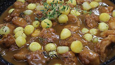 Ensalada de calabaza asada y cordero con patatas