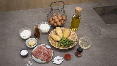 Patatas a la importancia y pasta con langosta