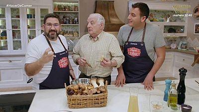 Setas con patatas y salmonetes al horno