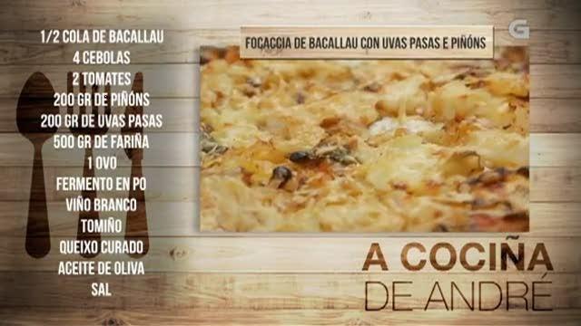 Focaccia de bacallau con uvas pasas e piñóns - 15/12/2017 11:00