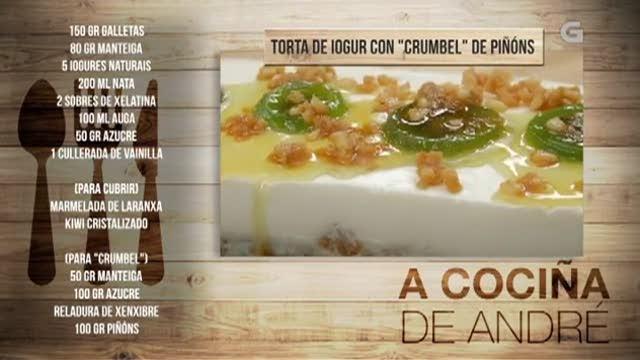 Torta de iogur con 'crumbel' de piñóns - 26/12/2017 11:00