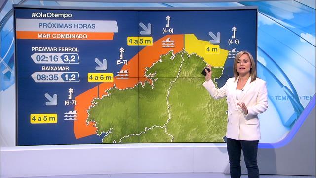 Aviso laranxa na costa da Coruña por mar combinado - 23/02/2021 20:00