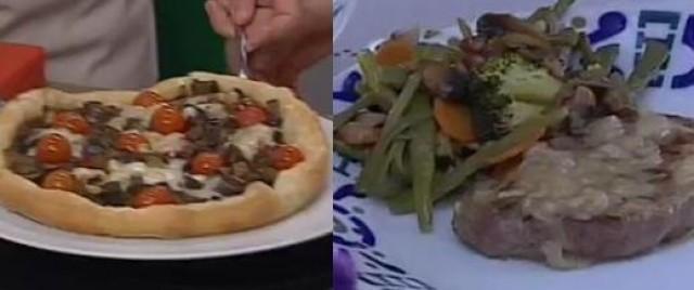 Pastel de verduras con queixo de cabra / Solombo de vitela con salsa de queixo de cabra - 05/06/2013 22:15